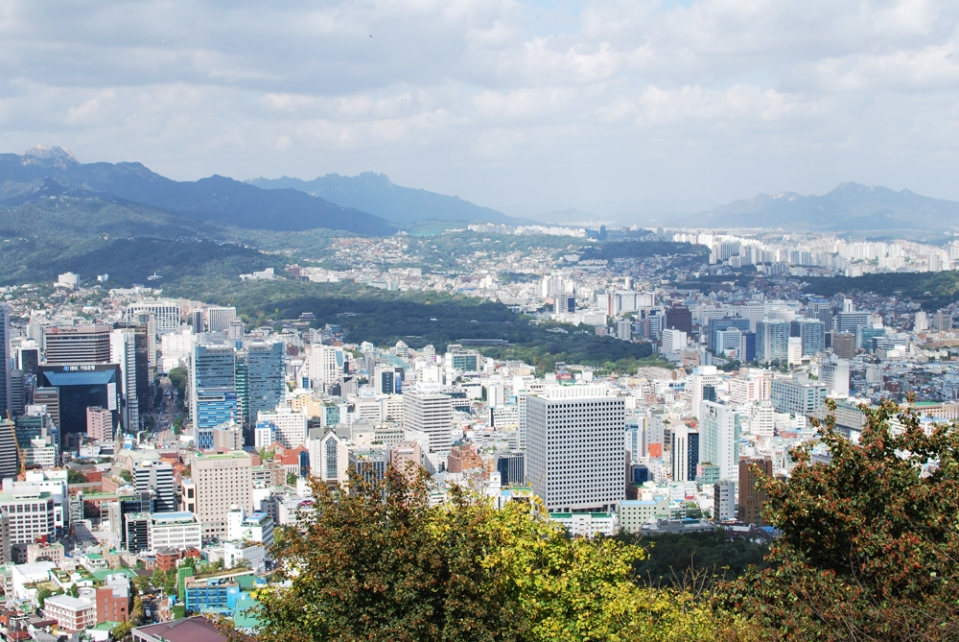 Seoul, as seen from the base of N Seoul Tower.