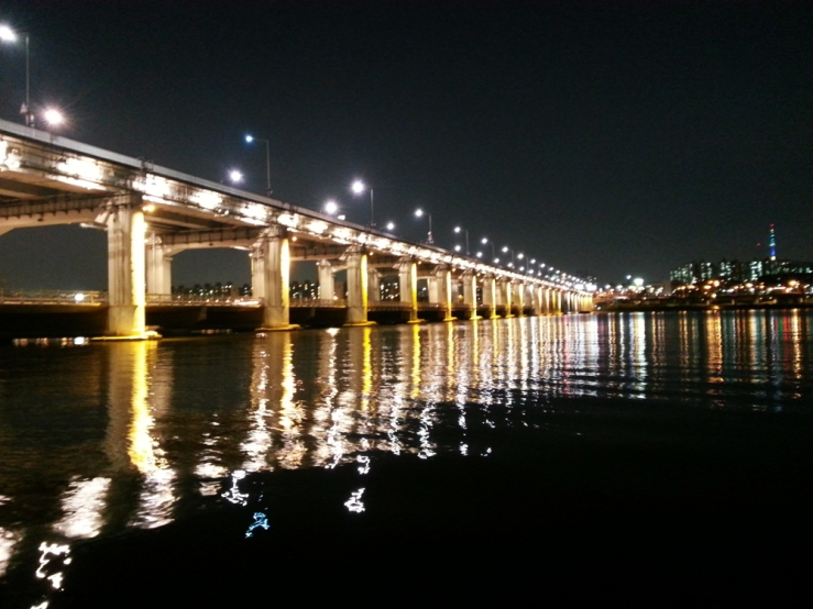 The time we went to the Han River at night to watch the waterworks display, but we were sitting on the wrong side so ended up missing most of the show