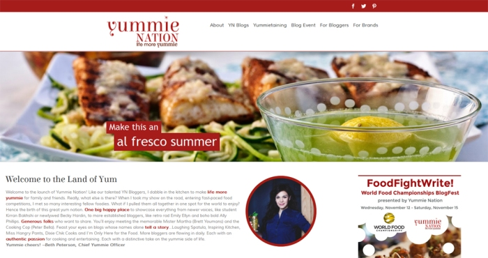 Screenshot of the Yummie Nation Home Page